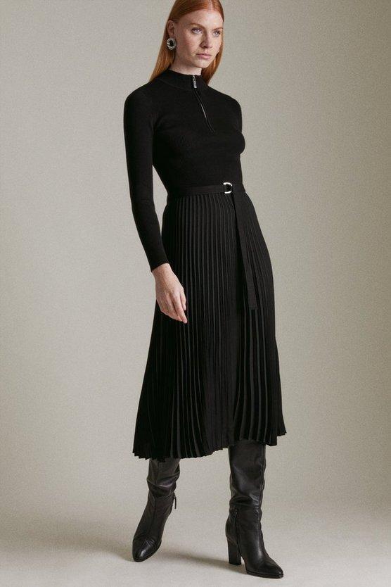 Black Long Sleeve Zip Turtle Neck Pleated Skirt Dress