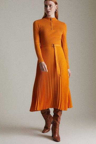 Orange Long Sleeve Zip Turtle Neck Pleated Skirt Dress