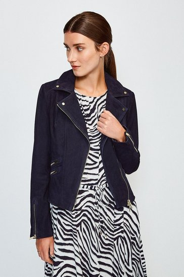 Navy Suede Signature Biker Jacket