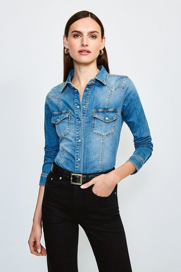 Mid wash Classic Popper Front Denim Shirt