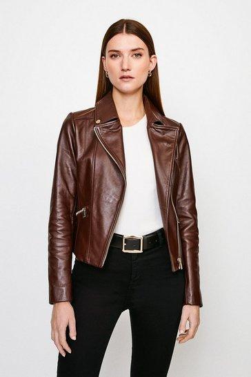 Brown Classic Leather Biker Jacket