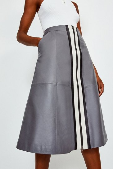 Grey A Line Zip Colour Block Skirt