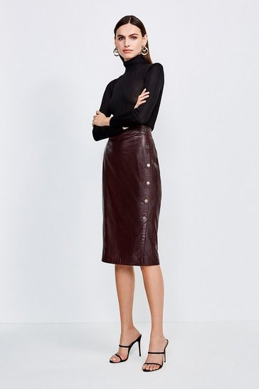 Fig Leather Gold Button Pencil Skirt