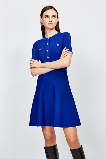 Cobalt Military Button and Pocket Knitted Dress