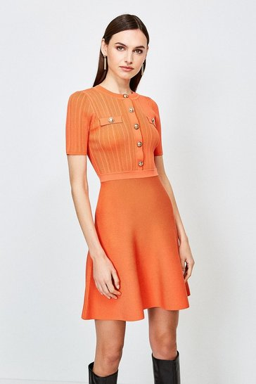 Orange Military Button and Pocket Knitted Dress