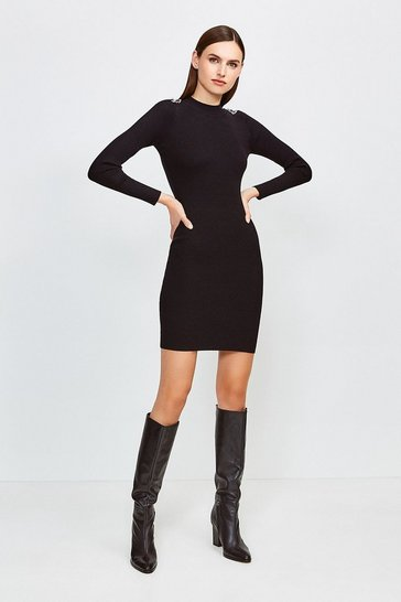 Black Chain Shoulder Rib Knitted Midi Dress