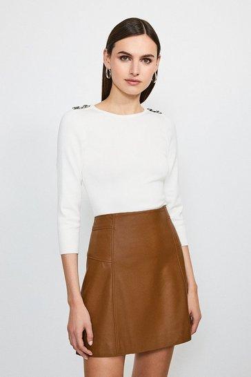 Cream Chain Shoulder Knitted Jumper