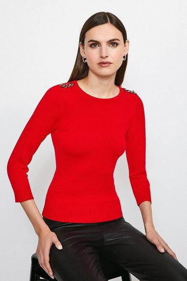 Red Chain Shoulder Knitted Jumper