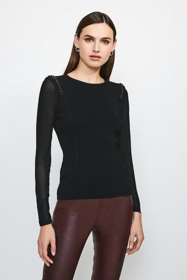 Black Chain Shoulder Mesh Sleeve Knitted Top