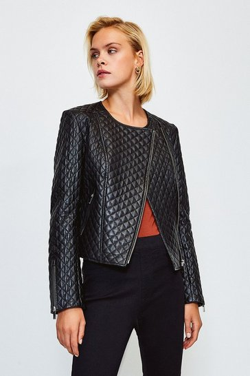 Black Leather Collarless Biker Jacket