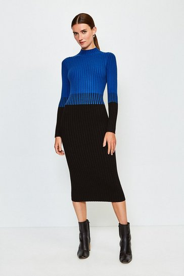 Cobalt Colourblock Skinny Rib Knit Dress