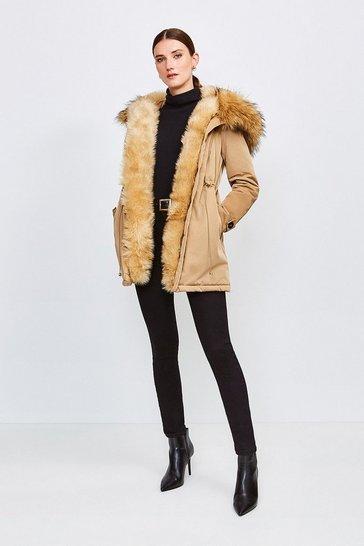 Camel Faux Fur Hood and Trim Parka Coat