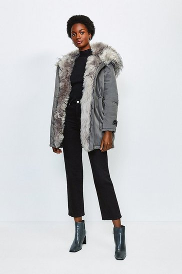 Grey Faux Fur Hood and Trim Parka Coat
