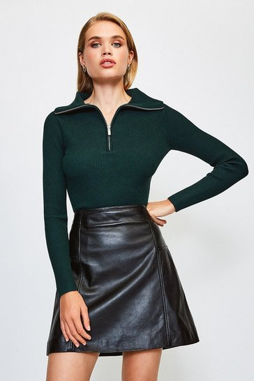 Dark green Zip Front Open Neck Jumper