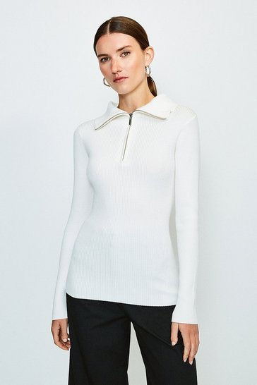 Ivory Zip Front Open Neck Jumper