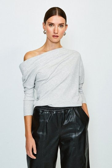 Light grey Drape Shoulder Knitted Top