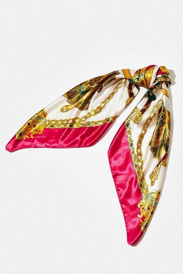 Pink Chain Print Satin Scarf