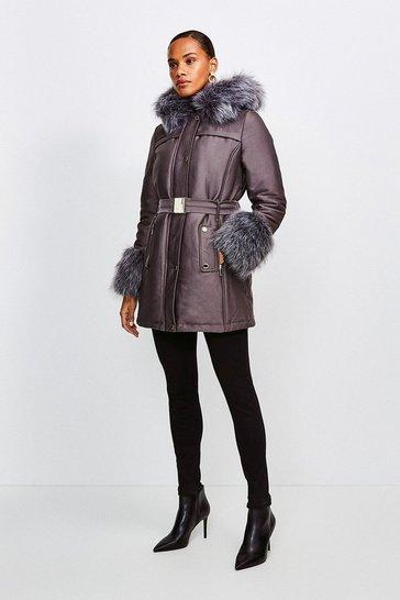 Mushroom Faux Fur Trimmed Parka Coat