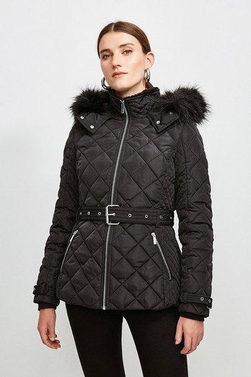 Black Short Quilted Belt Coat