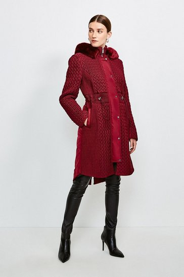 Wine Long Quilted Faux Fur Trimmed Hood Coat