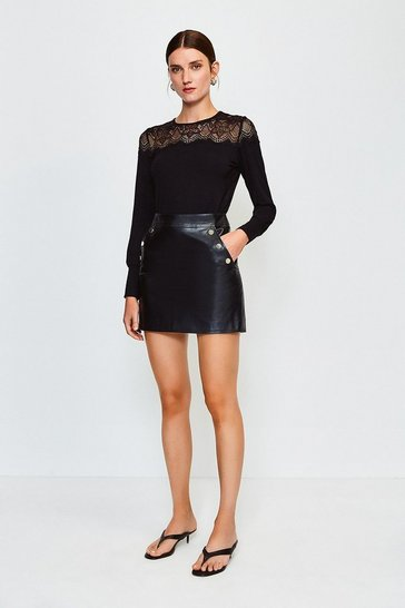 Black Lace Jersey Long Sleeve Top