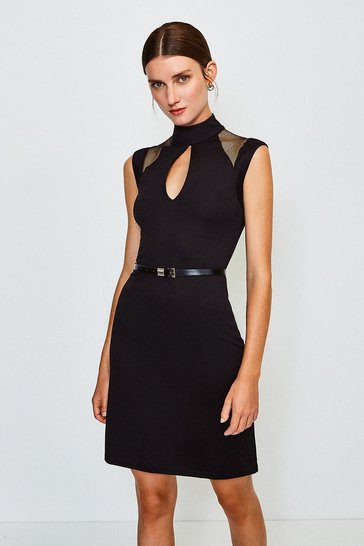 Black Ponte Mesh Panelled Belted Shift Dress