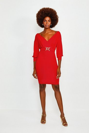 Red Wrap Front Jersey Long Sleeve Dress