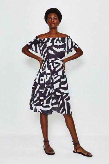 Zebra Batik Midi Dress