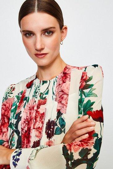 Cream Rose Print Pintuck Blouse