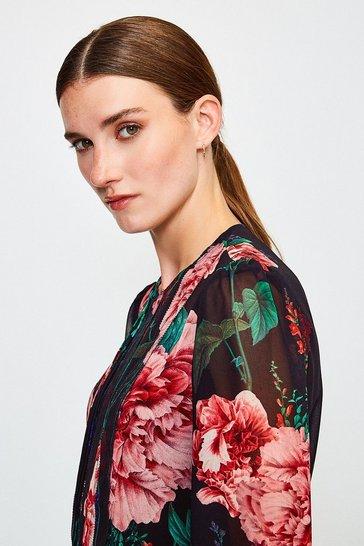 Multi Rose Print Pintuck Blouse