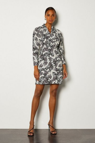 Grey Animal Long Sleeved Wrap Dress