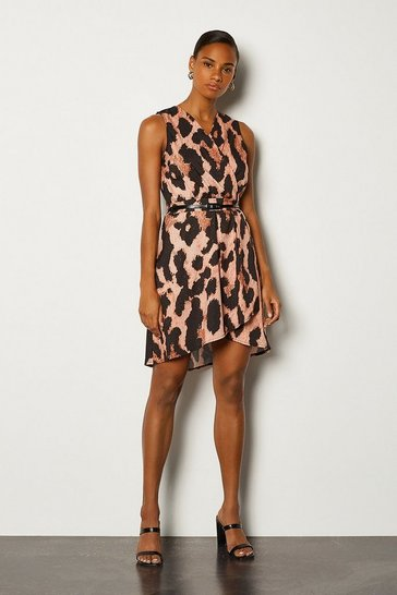 Brown Leopard Print Sleeveless Wrap Short Dress