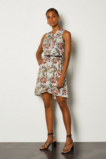 Blue Ditsy Floral Print Sleeveless Wrap Short Dress