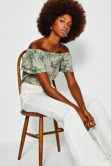 Green Linen Bardot Top