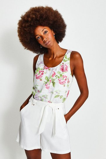 Floral Linen Sleeveless Shell Top