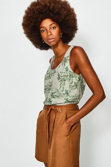 Green Linen Sleeveless Shell Top
