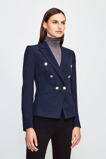 Navy Tailored Button Military Blazer