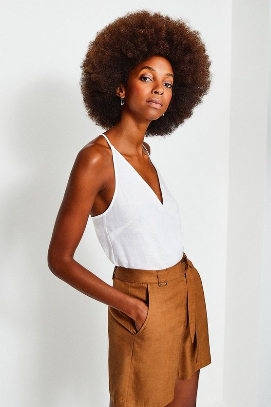 Ivory Linen Strappy Cami