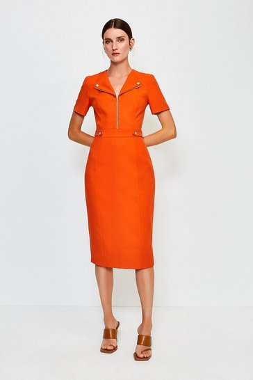 Orange Zip Placket Short Sleeve Pencil Dress