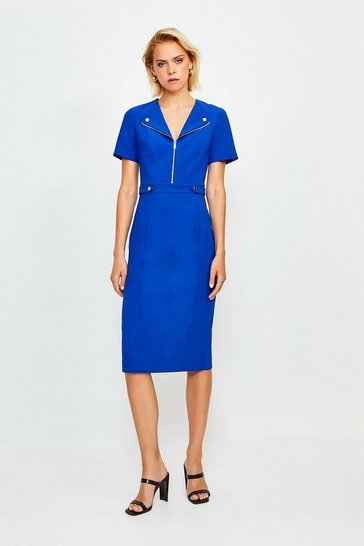 Blue Zip Placket Short Sleeve Pencil Dress