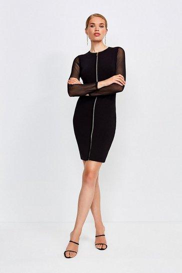 Black Sheer Sleeve Zip Front Knitted Dress