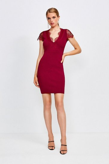 Red Lace Detail Knitted Dress