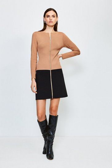 Camel Colour Block Zip Front Knitted Dress