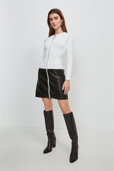 Cream Faux Leather Hem Knit Dress
