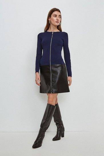 Navy Faux Leather Hem Knit Dress