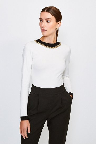 Ivory Mono Chain Neck Knitted Top