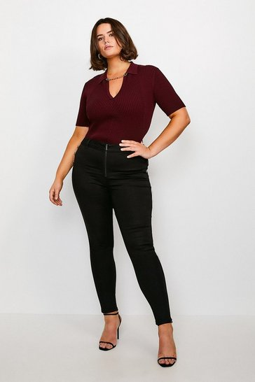 Black Curve Zip Front Button Detail Jean