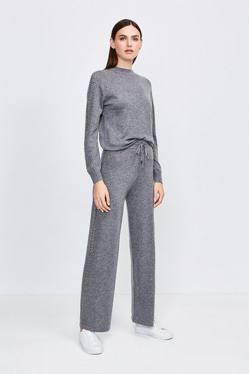 Grey Embellished Soft Touch Knitted Jogger