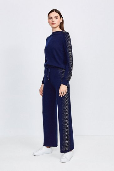 Navy Embellished Soft Touch Knitted Jogger