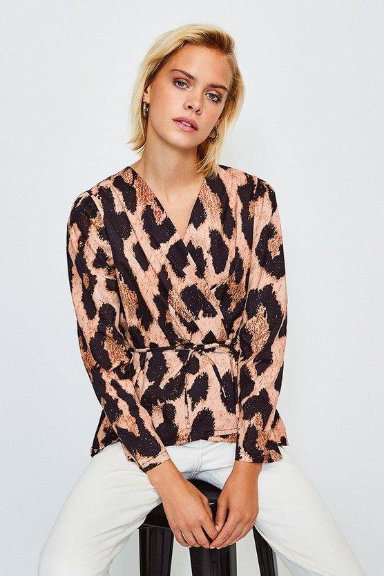 Brown Leopard Print Wrap Long Sleeved Top